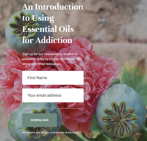 link to sign up for exclusive video on essential oils for addiction